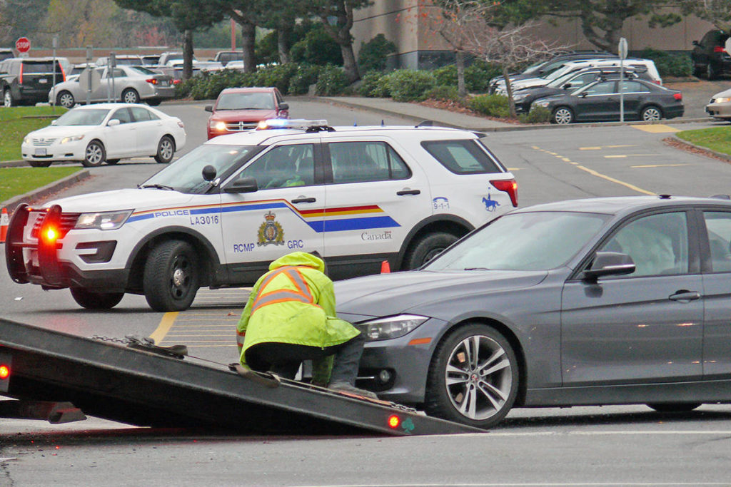 A collision involving a pickup truck and a car closed 200 Street near Willowbrook for more than an hour Saturday, Nov. 14, 2020 (Dan Ferguson/Langley Advance Times)