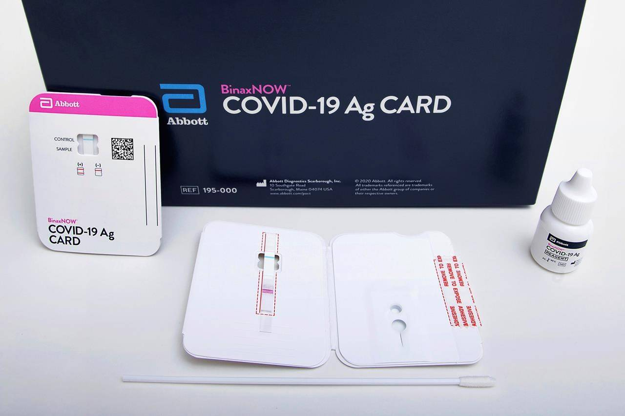 This image provided by Abbott Laboratories in August 2020 shows the company's BinaxNOW rapid COVID-19 nasal swab test. More than 3.8 million rapid tests are now in the hands of provincial health authorities but many jurisdictions are still evaluating how they might help battle the COVID-19 pandemic. THE CANADIAN PRESS/HO-Abbott Laboratories via AP