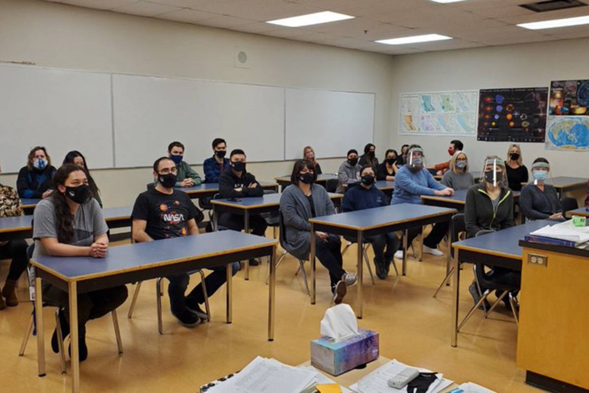Surrey teachers demonstrate what classrooms look like in their school district amid the COVID-19 pandemic in November 2020. (BCTF)