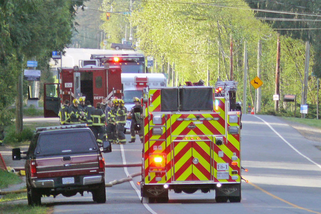 Langley Township firefighters were called to the scene of a residential blaze on 200 Street near 20 Avenue around 6 a.m. Sunday morning April 26, 2020 (Langley Advance Times file)