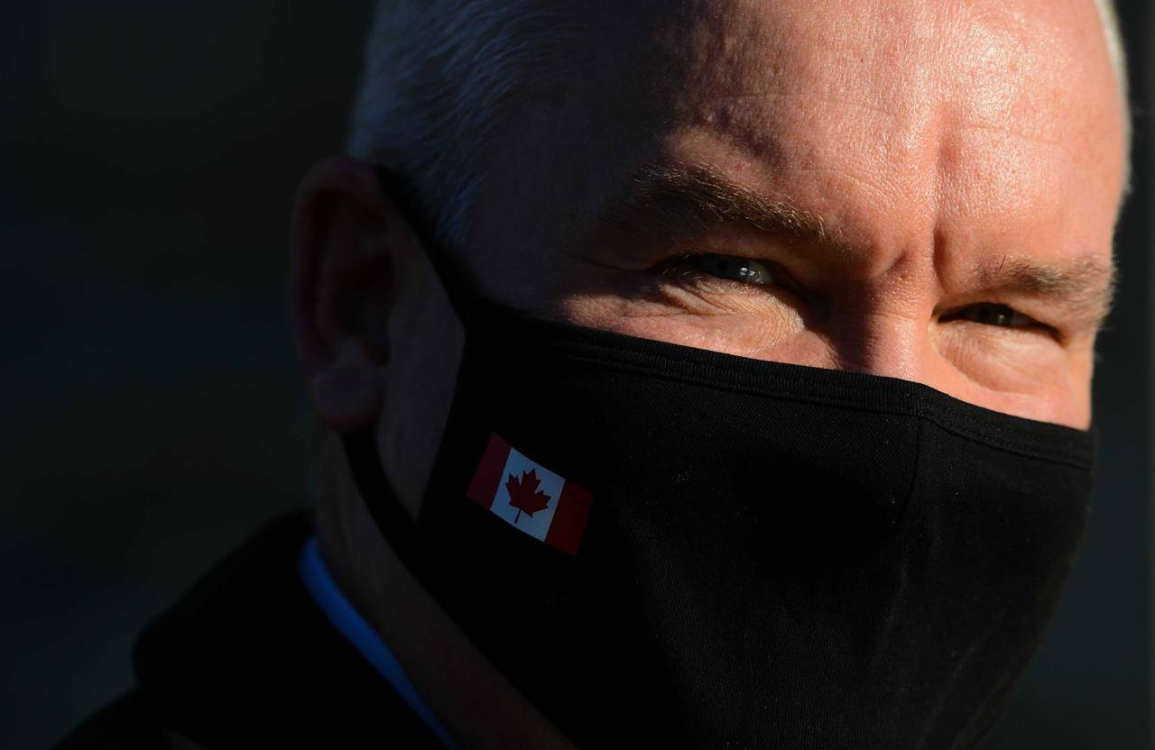 Conservative Leader Erin O'Toole wears a mask on Parliament Hill in Ottawa on Thursday, Nov. 5, 2020. The presumptive end of the Trump era in U.S. politics presents both challenges and opportunities for Canadian Conservatives: there are many in their party who were fans of Trump, but to win government, the Tories need to also reach out to many who were bitterly opposed to him. THE CANADIAN PRESS/Sean Kilpatrick