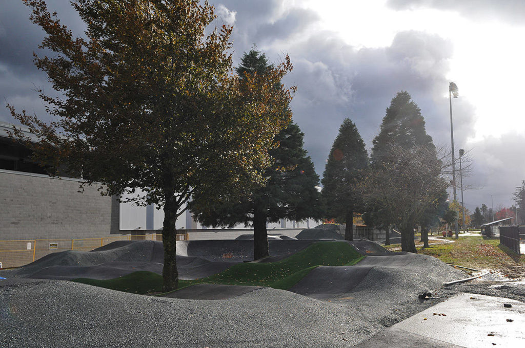 Construction is underway on Chilliwack's new pump track, seen here on Friday, Nov. 13, 2020 beside the Chilliwack Curling Club. (Jenna Hauck/ Chilliwack Progress)