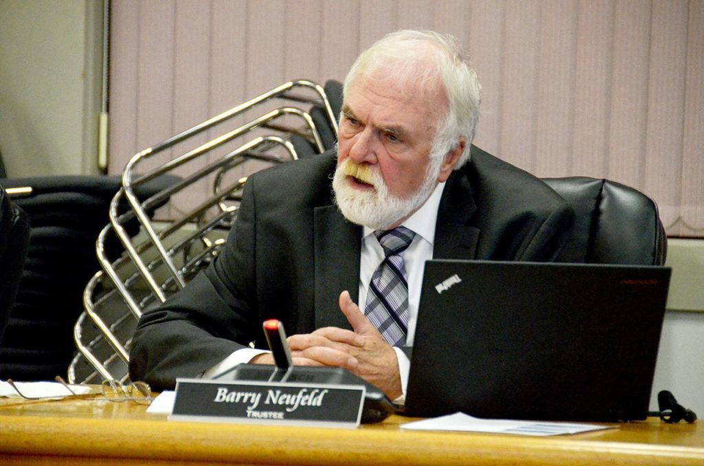 Chilliwack school board trustee Barry Neufeld at the board's last meeting before the Oct. 20, 2018 election. (Paul Henderson/ Black Press file)
