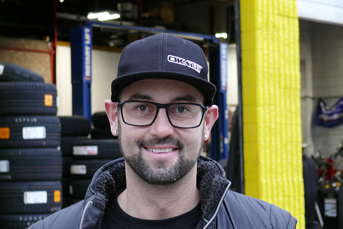 Brett Delaney, manager and co-owner of OK Tire in Langley, was on-site on Tuesday, Nov. 17, 2020. Delaney and other tire businesses are reporting delays in getting winter tires due to COVID-19 plant closures and delivery disruptions (Dan Ferguson/Langley Advance Times)