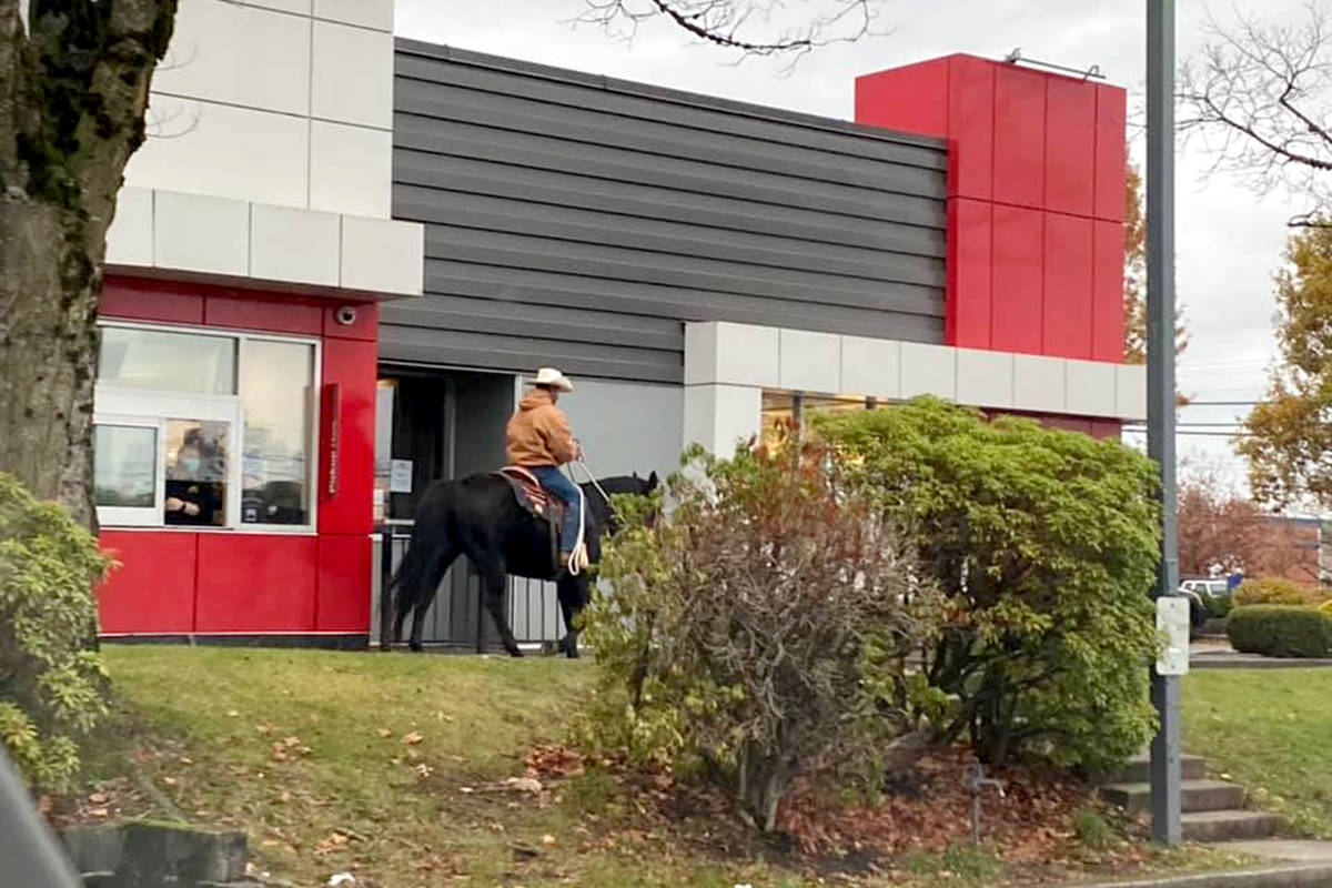 A couple took a ride through the McDonalds drive-thru on horseback this past weekend. (Andy Bhatti/Special to the Star)