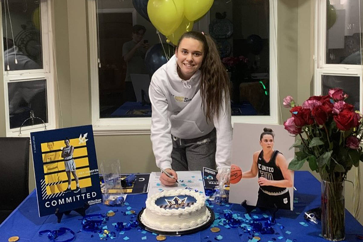 """Langley's Isabelle """"Izzy"""" Forsyth signed a letter of intent with University of California on Wednesday, Nov. 11 (Special to Langley Advance Times)"""