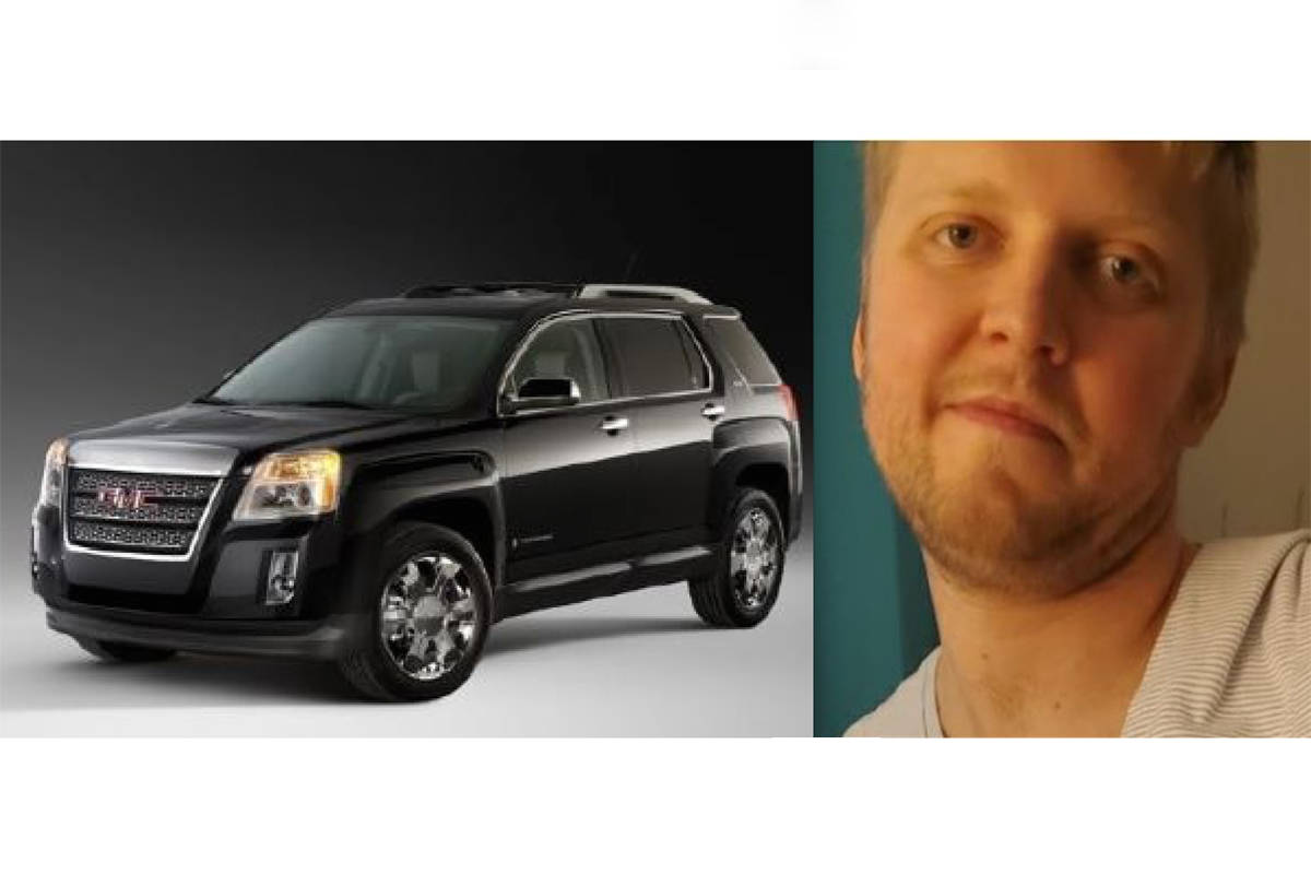 Langley RCMP are seeking the assistance of the public to locate Joel Reed Goddard, last seen driving a black GMC Terrain (special to Langley Advance Times)