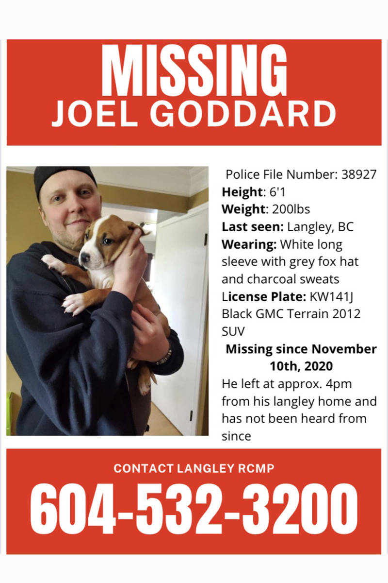 Friends of missing Langley man Joel Goddard have created a missing poster. (Special to the Langley Advance Times)