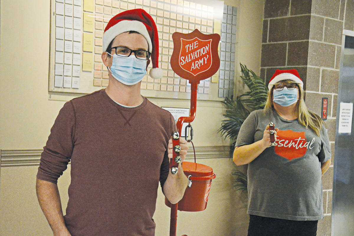 Dan Donkers and Andrea Voss of the Salvation Army's Gateway of Hope in langley are getting ready for the annual Kettle Campaign. (Matthew Claxton/Langley Advance Times)