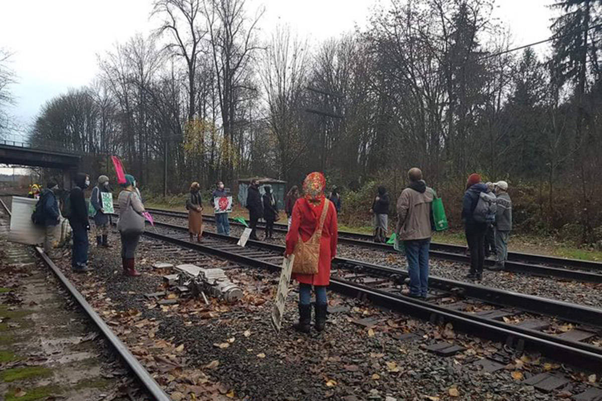 Protesters have set up on a rail line near the Trans Mountain pipeline expansion route in Burnaby on Tuesday, Nov. 17, 2020. (Extinction Rebellion)
