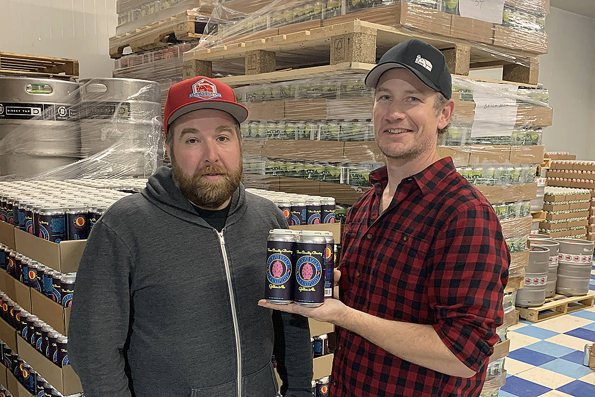Travis Keyworth and Arnold Tobler, co-owners of Farm Country Brewing, launched a collaborative craft beer that will benefit Langley hospice. (Special to Langley Advance Times)