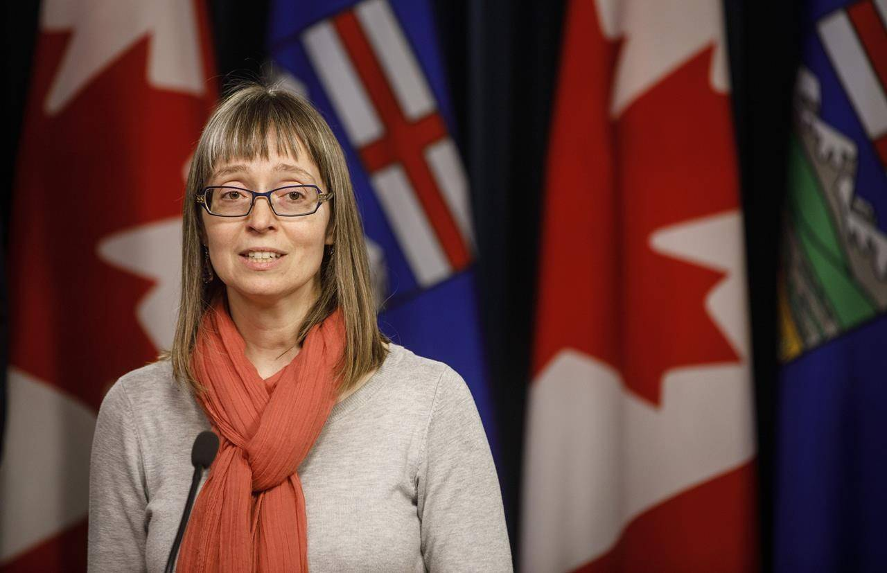 Alberta chief medical officer of health Dr. Deena Hinshaw updates media on the COVID-19 situation in Edmonton on Friday, March 20, 2020. Alberta Health says an investigation into Canada's first human case of a rare swine flu variant in central Alberta has determined it's the only case in the area. THE CANADIAN PRESS/Jason Franson