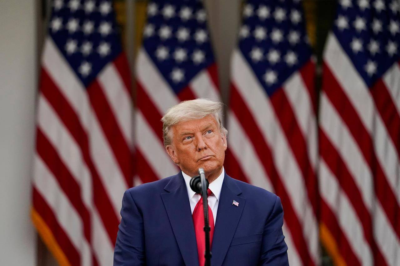 President Donald Trump speaks in the Rose Garden of the White House, Friday, Nov. 13, 2020, in Washington. A tweet seeking to distance Elections Canada from the use of electronic voting equipment has earned a like from the president of the United States. THE CANADIAN PRESS/AP, Evan Vucci