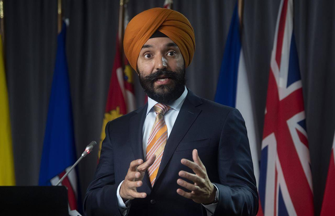 Innovation, Science and Industry Minister Navdeep Bains during a news conference Tuesday, Nov. 17, 2020 in Ottawa. Federal privacy legislation introduced today would require companies to get consent from customers through plain language, not a lengthy legal document, before using their personal data. THE CANADIAN PRESS/Adrian Wyld