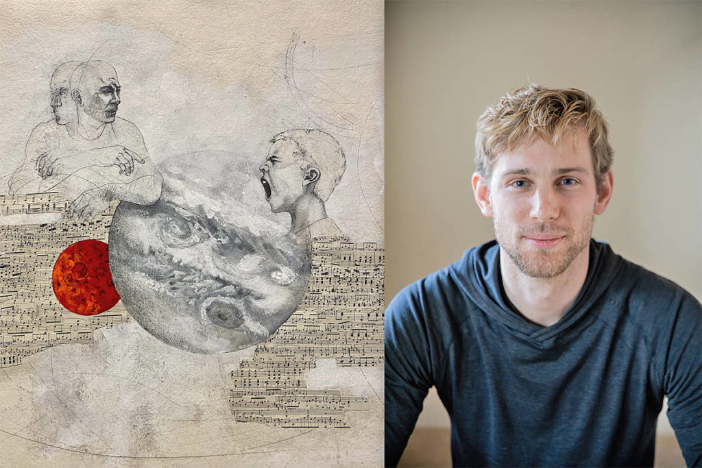 "Custom artwork (L) by artist Adam Back for the song ""Letter to Dad"" written by Fort Langley resident Brendan Kwiatkowski (R), an unplanned result of his PhD study into how boys deal with feeling in today's world. (Special to Langley Advance Times)"