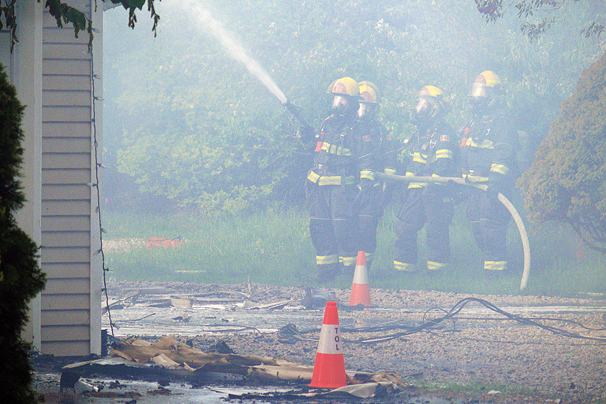 Township firefighters battled a residential structure fire on 32nd Avenue near 204th Street on Sunday afternoon, May 10, 2020, around 5:30 p.m. (Langley Advance Times file)