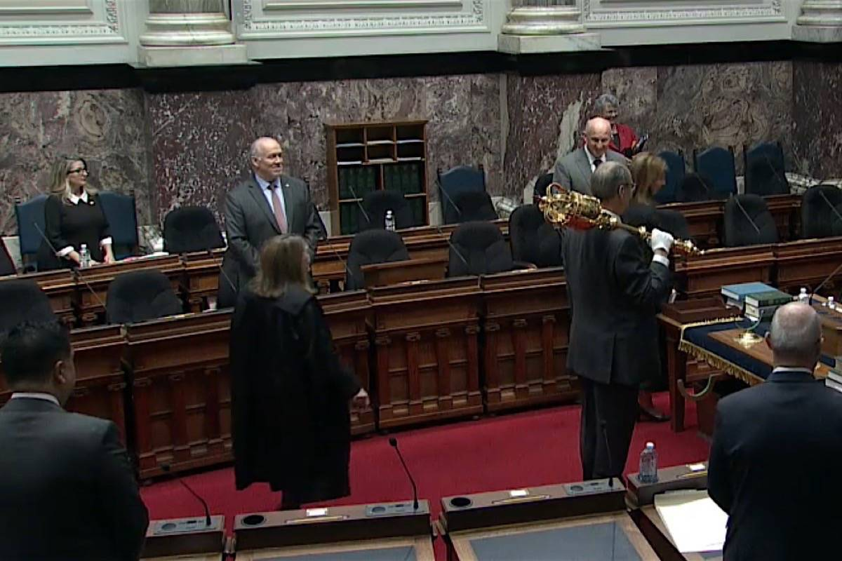 Premier John Horgan and a handful of MLAs attend in person for the first COVID-19 sitting of the B.C. legislature, March 23, 2020. (Hansard TV)