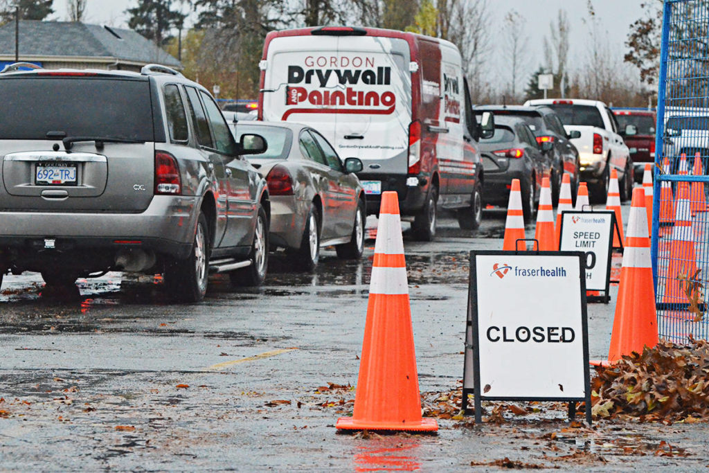 The COVID-19 testing centre at Kwantlen Polytechnic University's Langley campus had no spaces left for drop ins by mid-afternoon Wednesday. (Matthew Claxton/Langley Advance Times)
