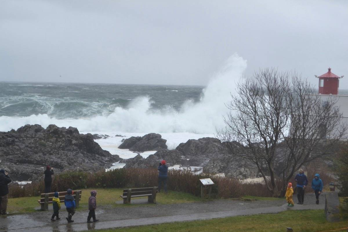 A giant wave crashes into the rocks off Amphitrite Point Lighthouse in Ucluelet on Nov. 17, 2020. (Nora O'Malley photo)