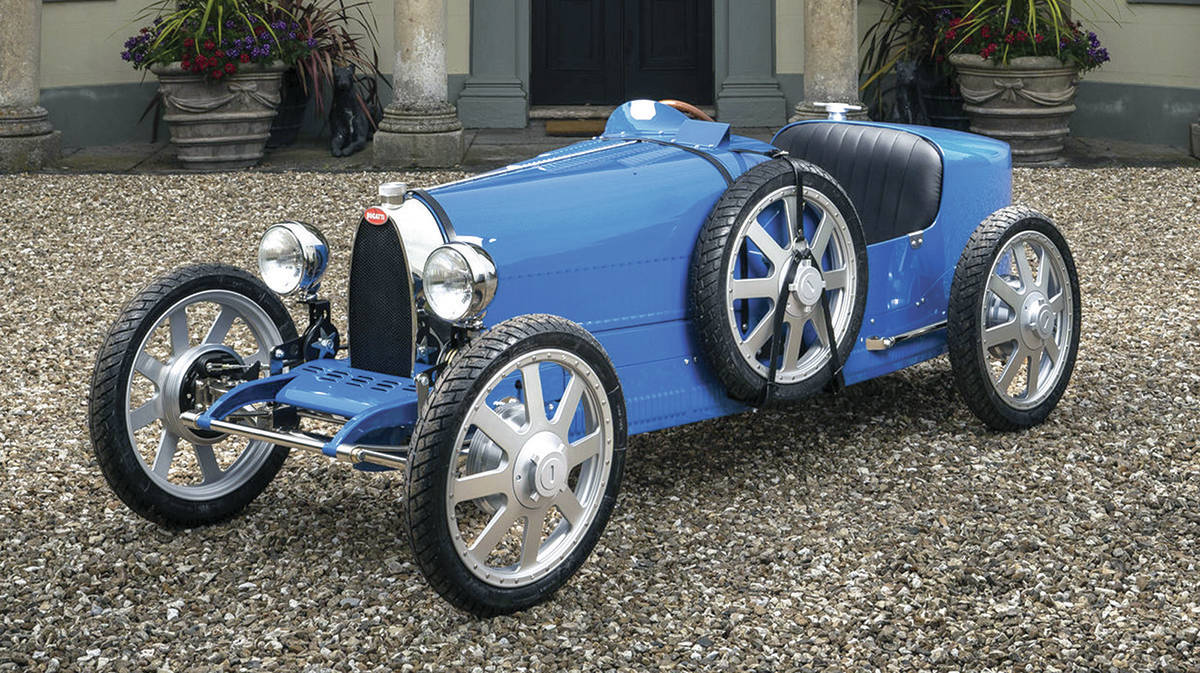 The Baby II is a three-quarter-scale version of the Type 35 racecar from the 1920s. PHOTO: BUGATTI