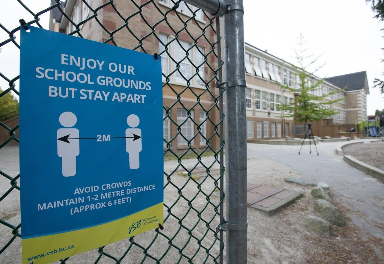 A physical distancing sign is seen during a media tour of Hastings Elementary school in Vancouver, Wednesday, September 2, 2020. British Columbia's education minister hopes the government will be able to entirely avoid school closures under any scenario but it would defer to advice from public health officials should COVID-19 cases worsen. THE CANADIAN PRESS/Jonathan Hayward