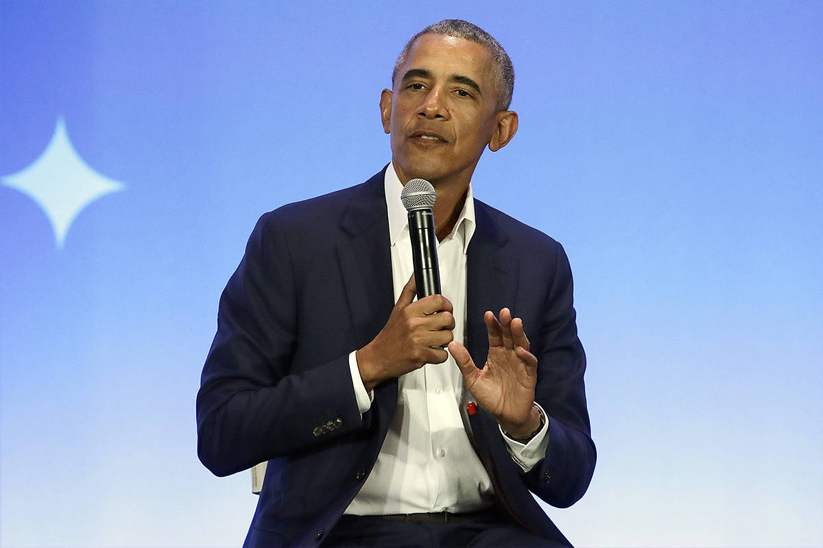 FILE - This Feb. 19, 2019, file photo shows former President Barack Obama speaking at the My Brother's Keeper Alliance Summit in Oakland, Calif.  Obama's post-White House memoir isn't expected to be released this year, setting up the likelihood that the highly anticipated book will drop in the midst of the 2020 campaign. Publisher Penguin Random House started alerting foreign partners and others about the status of Obama's book on Tuesday, May 7,. (AP Photo/Jeff Chiu, File)