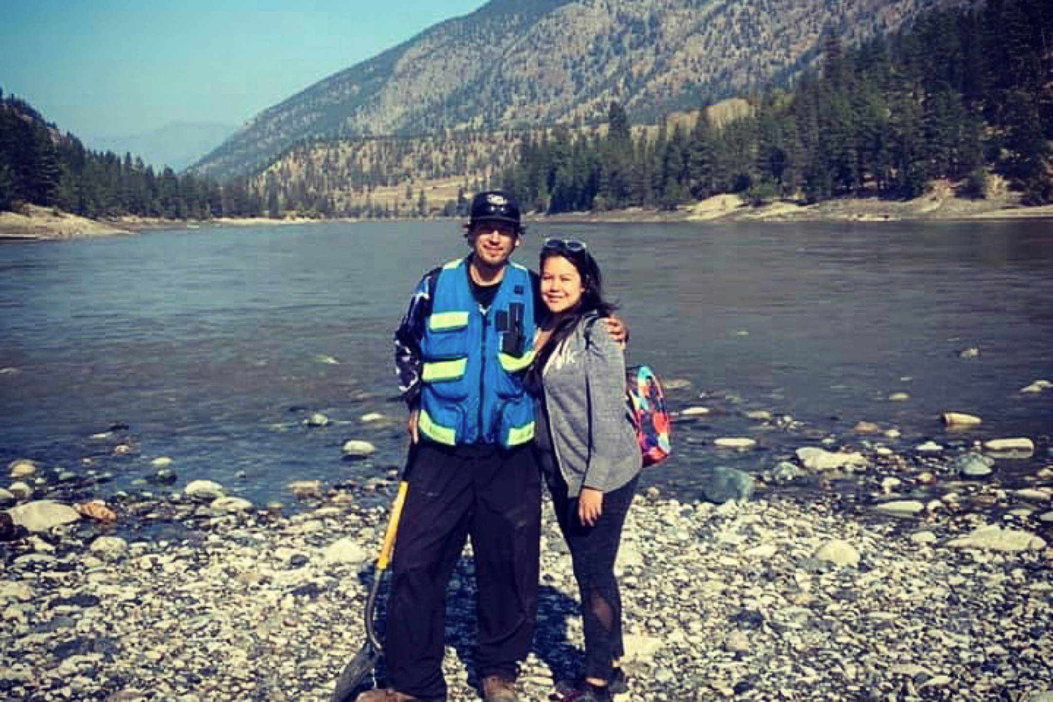 Rick Curiston and Tina Francis pose near the water. The couple followed through on a sobriety pact and have taken up prospecting near Lillooet. (Contributed Photo/Tina Francis)