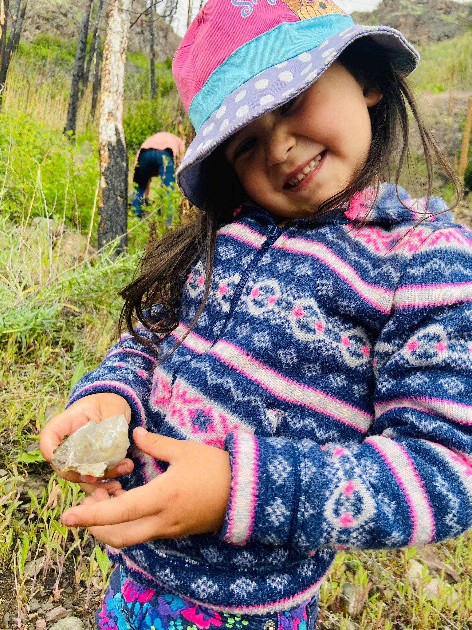 Rick Curiston's daughter Paisley beams as she shows off her latest find. The youngest member of Renegade Prospectors currently holds the family record for the biggest amethyst found. (Contributed Photo/Tina Francis)