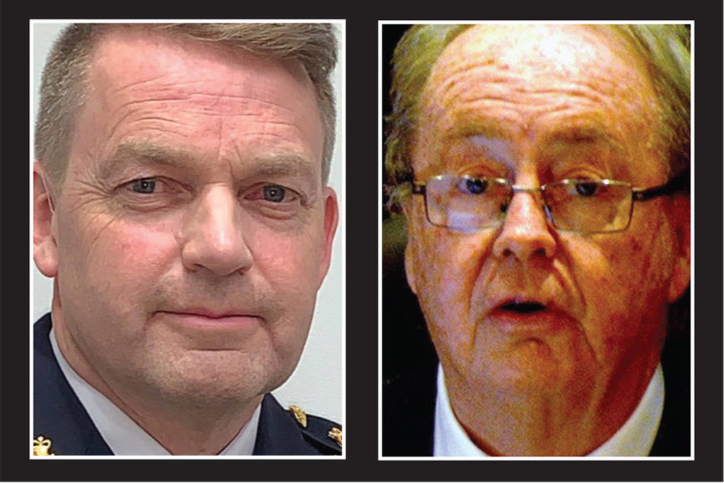 Surrey RCMP Officer-in-Charge Brian Edwards, left, and Surrey Mayor Doug McCallum. (File photos)