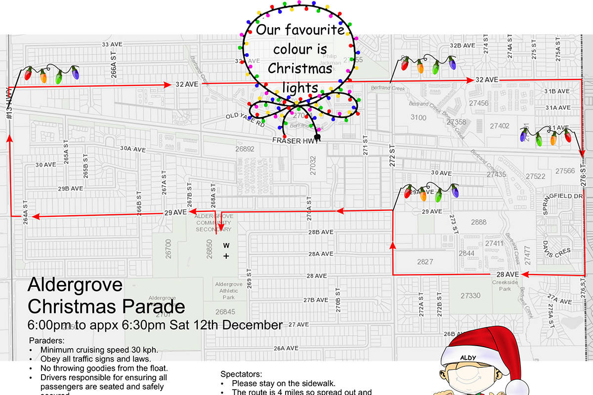 Aldergrove Christmas parade route on Dec. 12. (Aldergrove Business Association/Special to the Advance Times)