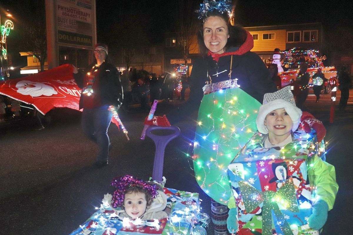 "Nearly 50 businesses and organizations from Aldergrove showcased their unique ""light-up"" float or display in Aldergrove's annual Christmas Light-Up parade in 2019. (Aldergrove Star files)"