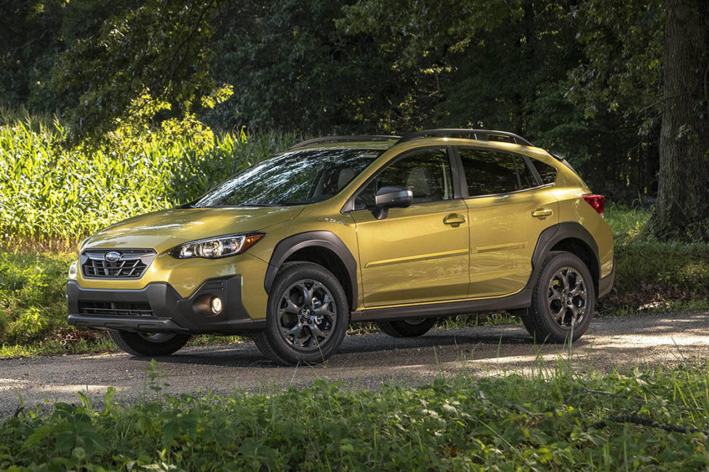 The Subaru Crosstrek boasts a tough-look appearance that's currently in vogue, with a hiked-up ride height that provides extra ground clearance.