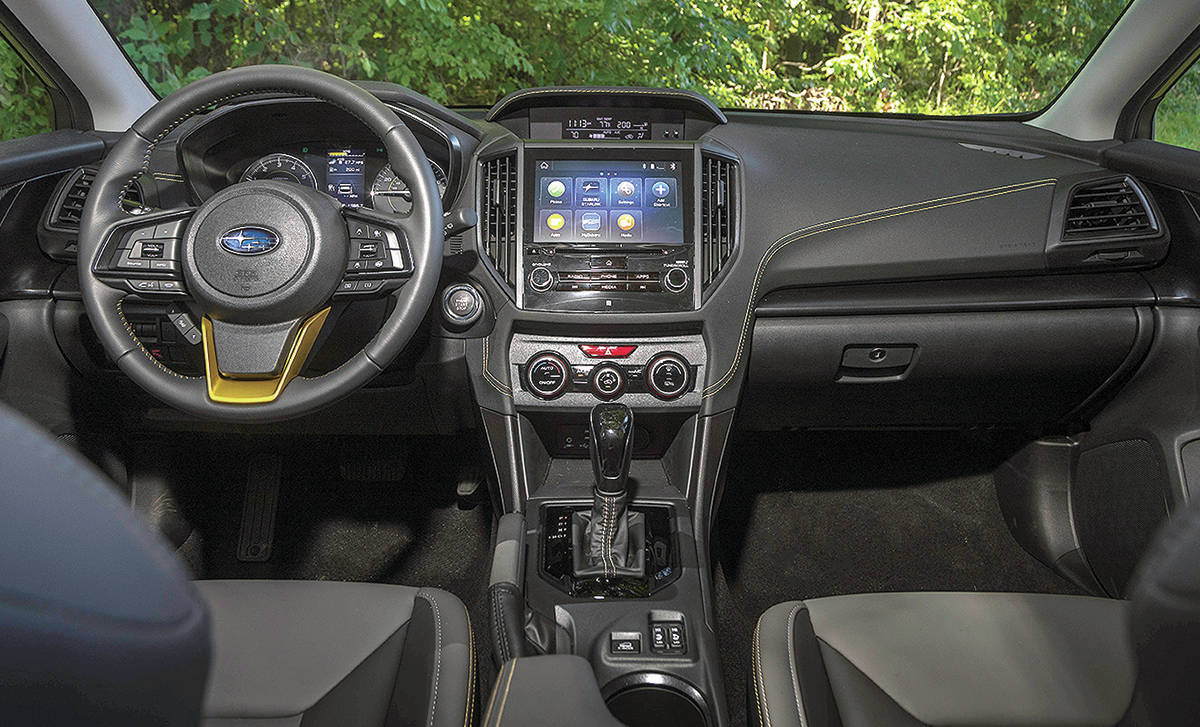 The faux-leather interior of the new Sport model is water repellent. Other goodies include the X-Mode system with drive settings to handle various traction situations. Note that the manual transmission is not available with the Sport because this model comes with the 2.5-litre engine. PHOTO: SUBARU