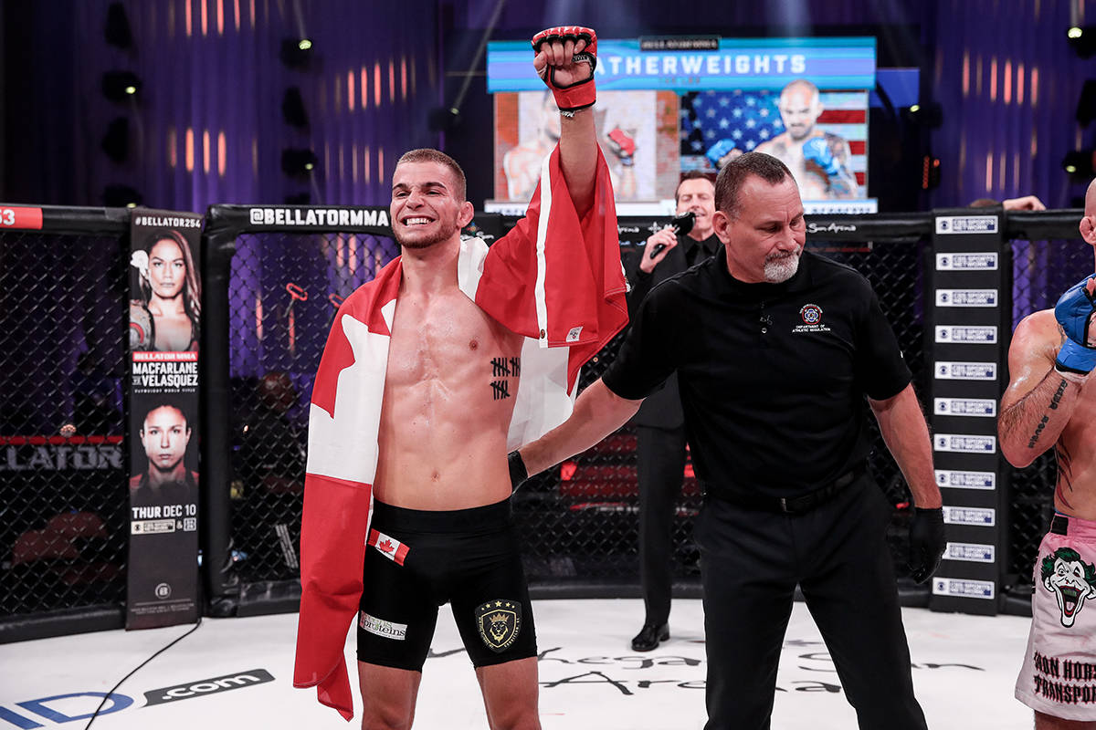 MMA fighter Jeremy Kennedy celebrates his featherweight-fight win Thursday (Nov. 19) at Mohegan Sun Arena in Uncasville, Connecticut. (Bellator MMA photo)