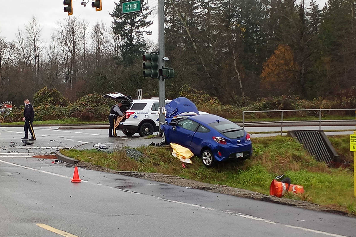 Police on scene after a crash near 180th Street and Golden Ears Way Friday (Nov. 20). (Photo: Malin Jordan)