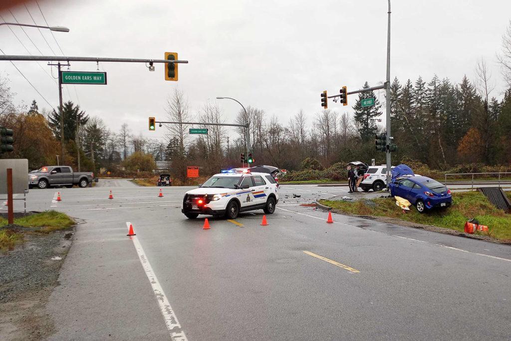 Police on scene after a crash near 180th Street and Golden Ears Way Friday (Nov. 20). (Photo: Malin Jordan)