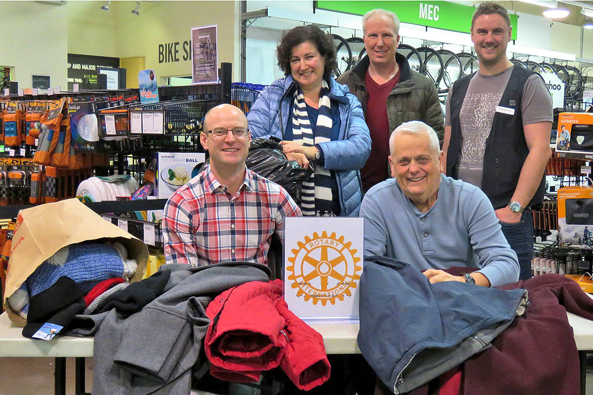 The Satellite Rotary Club of Langley Central Sunrise held a clothing drive back in January, and are hoping to hold another on Dec. 2, at the Mountain Equipment Co-op. (Lilianne Fuller/Special to Langley Advance Times)