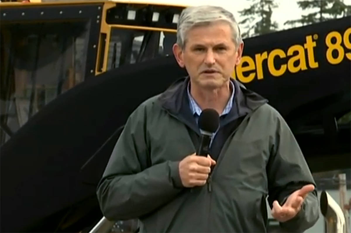 Andrew Wilkinson addresses a BC Liberal Forestry Rally in Campbell River on Oct. 17, 2020.
