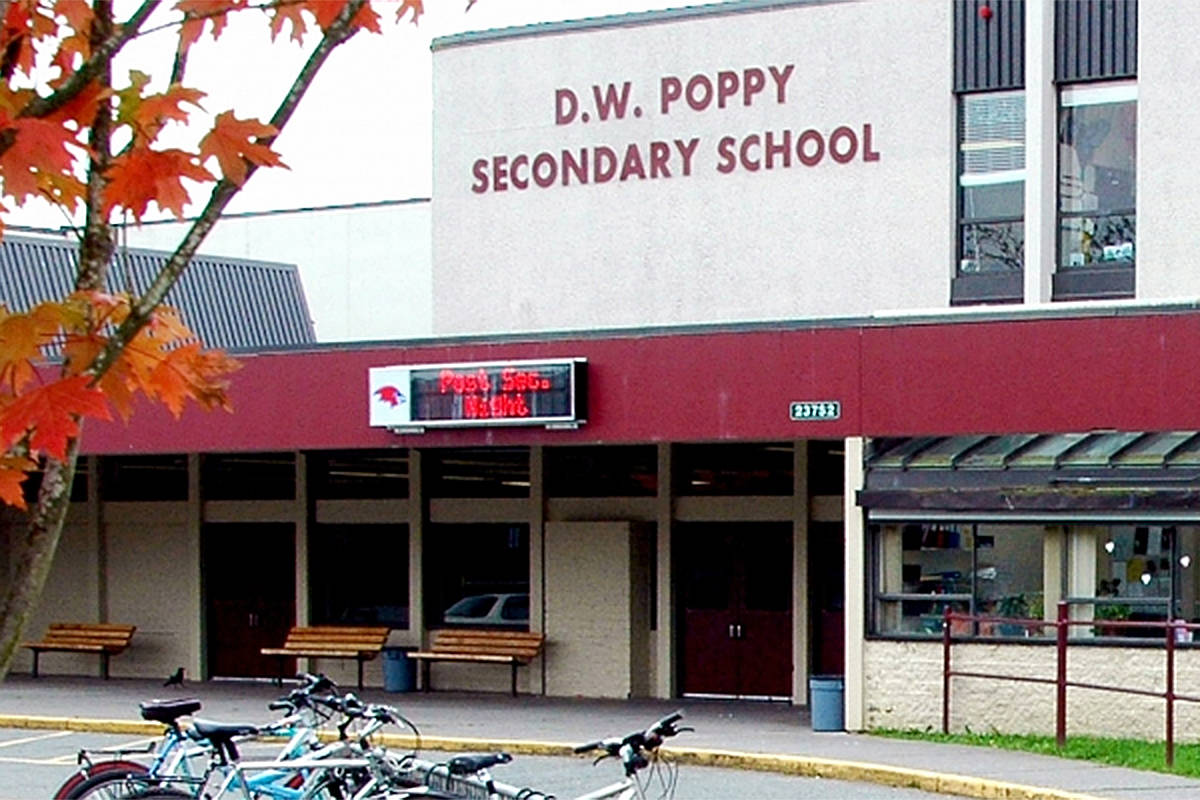 D.W. Poppy Secondary is one of the latest schools in Langley to report a COVID exposure, sending out early notification letters on Saturday, Nov. 21. (Screengrab/Langley School District)
