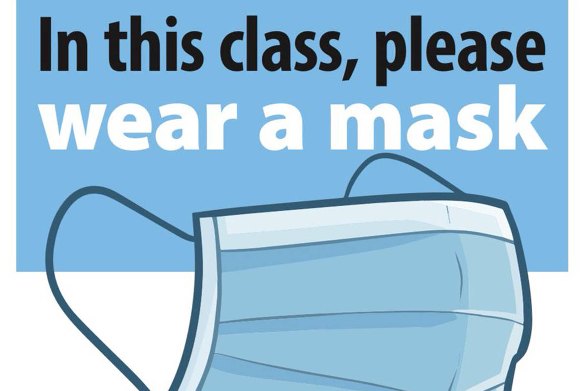 A sign encouraging students to wear a mask in classrooms released Friday, Nov. 20, 2020. (BCTF)