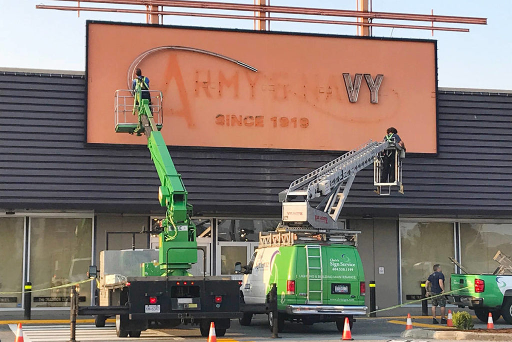 Army and Navy was in business for more than a century but closed earlier this year, citing COVID-19 as the cause. The space at Langley Mall has been taken over by McFrugal's Discount Outlet. (Lisa Farquharson/Black Press Media)