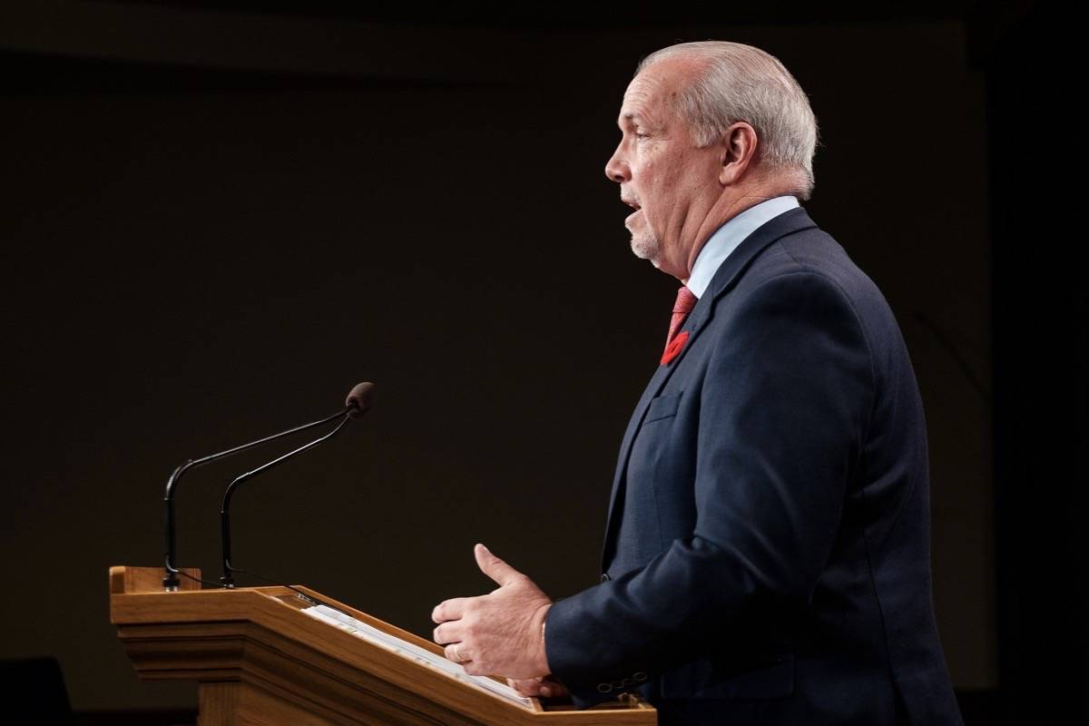 B.C. Premier John Horgan speaks to reporters from B.C. legislature. (B.C. government/Special to The Star)