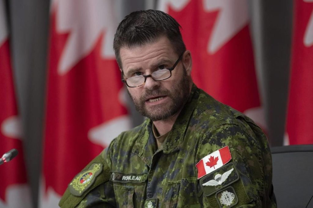 Canadian Joint Operations Commander Lt.-Gen. Mike Rouleau speaks during a news conference on the recent Canadian Forces helicopter crash, Tuesday, May 19, 2020 in Ottawa. The Canadian Armed Forces is preparing to formally apologize to victims of sexual misconduct. THE CANADIAN PRESS/Adrian Wyld