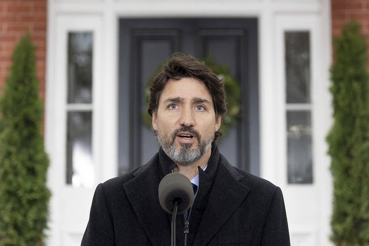 Prime Minister Justin Trudeau speak to the media about the COVID-19 virus outside Rideau Cottage in Ottawa, Friday, Nov. 20, 2020. THE CANADIAN PRESS/Adrian Wyld