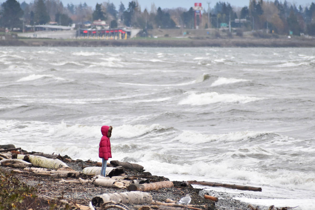 FILE – Heavy winds in White Rock draw some spectators to the beach Tuesday afternoon. (Aaron Hinks photos)
