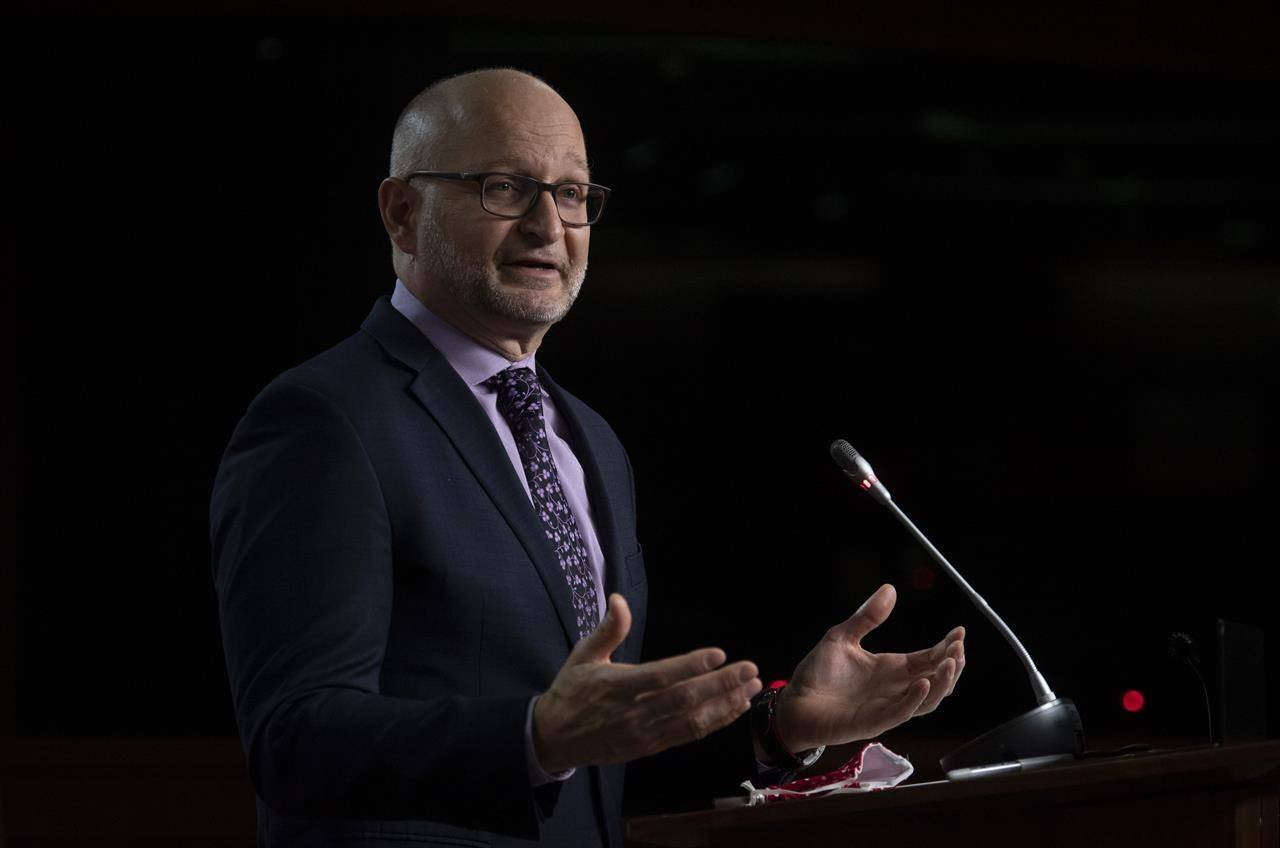 Minister of Justice and Attorney General of Canada David Lametti responds to a question during a news conference in Ottawa, Monday, Oct. 19, 2020. THE CANADIAN PRESS/Adrian Wyld