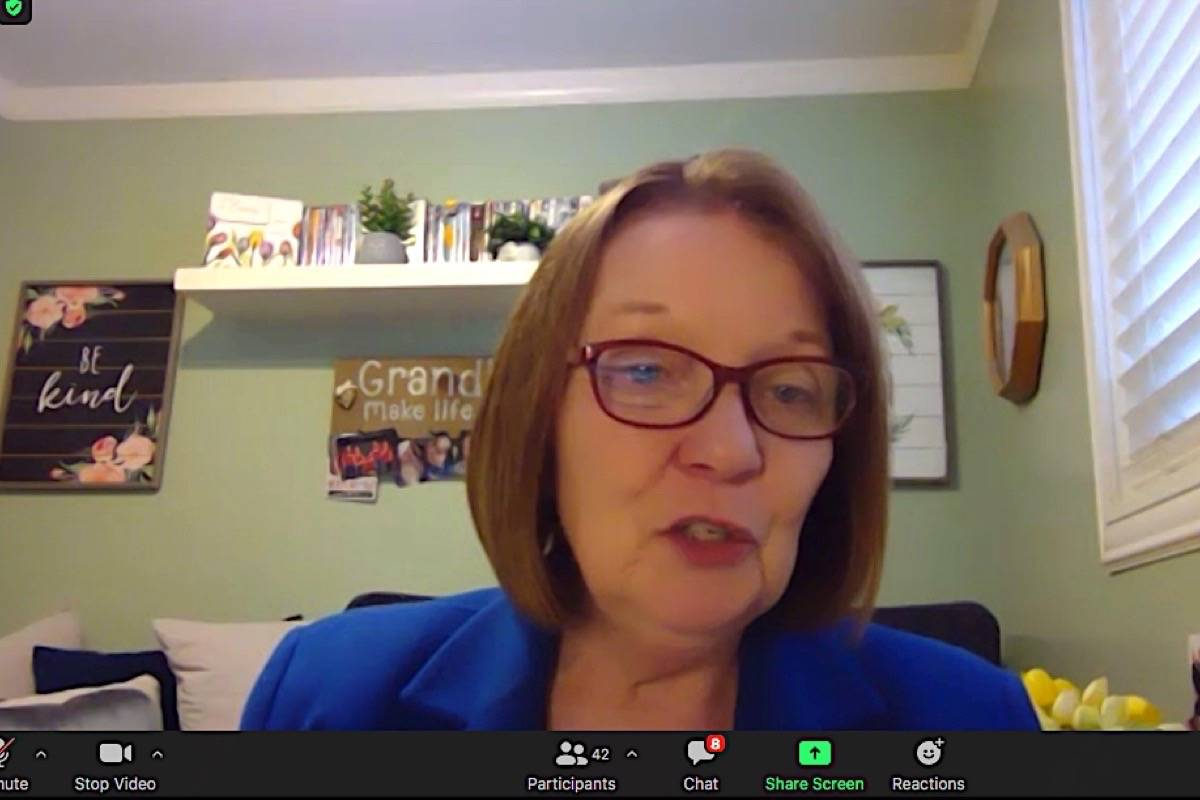 B.C. Liberal interim leader Shirley Bond speaks to reporters from Prince George via Zoom conference, Nov. 24, 2020. MLAs are being sworn in for the legislature session this week, many of them also by video. (B.C. legislature)