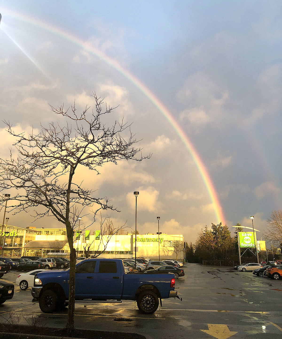 Hyun Jung Nam (Chelsea) also shared a picture of Tuesday's rainbow, her's was captured from in front of the Save-On-Foods on 64th Avenue in Willowbrook. (Special to Langley Advance Times)
