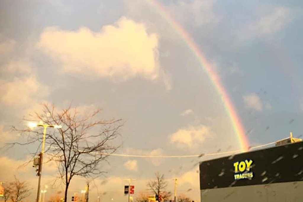 """Similarly, Georgina M. Church caught this rainbow picture, saying it made her feel happy. """"Followed a rainbow, and where did it take me? To the best store ever, Toy Traders,"""" she said. (Special to Langley Advance Times)"""