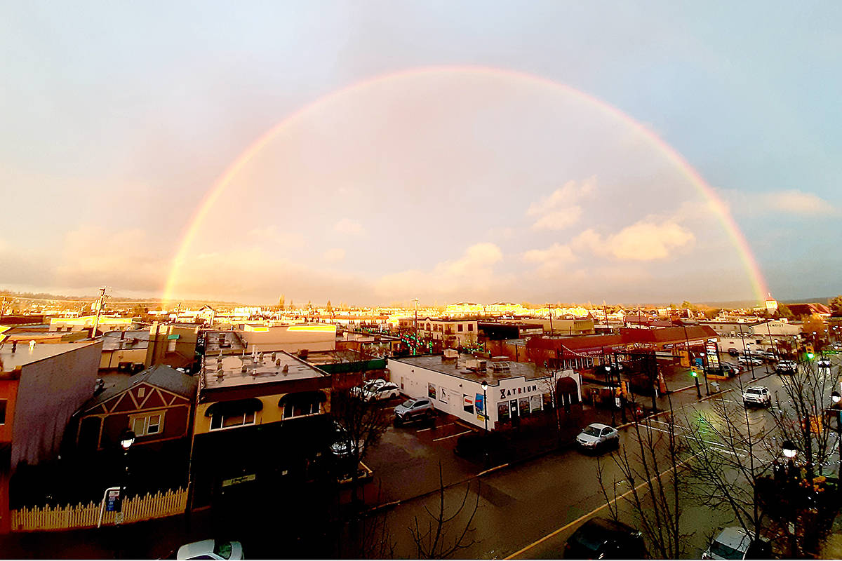"Langley City's Gregory Douglas snapped a picture of a rainbow over the downtown core Tuesday, Nov. 24. ""Just wanted to share this beautiful view that I happened to capture today, that illustrates not only Mother Nature's beauty,"" but what an ""amazing city"" we live in. (Special to Langley Advance Times)"